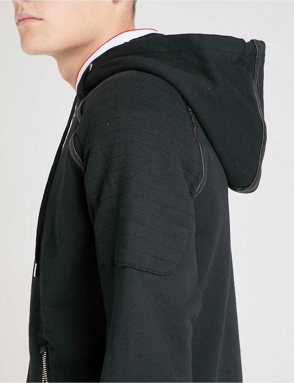 dbe53c85929 THE KOOPLES - Faux leather-trim cotton-jersey hoody | Selfridges.com