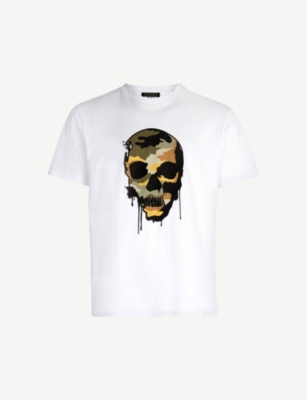 THE KOOPLES Camouflage skull-embroidered cotton T-shirt