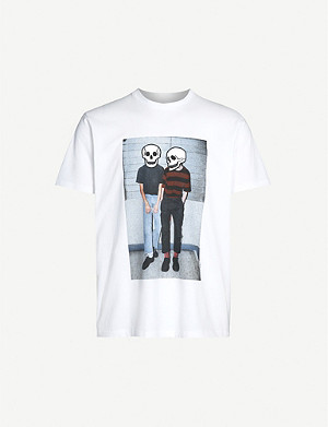 THE KOOPLES Skull and graphic print cotton-jersey T-shirt