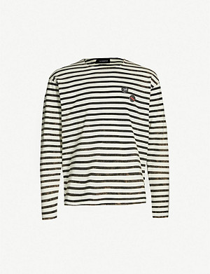 THE KOOPLES Badge detail striped cotton top
