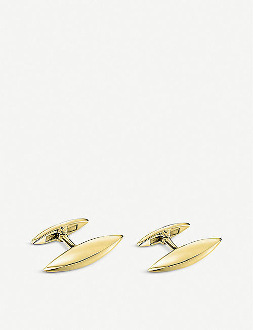 SHAUN LEANE: Arc yellow gold-plated vermeil silver cufflinks