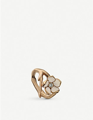 SHAUN LEANE: Cherry Blossom yellow gold-plated vermeil silver and diamond ring