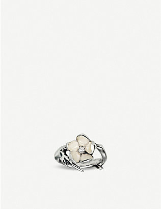 SHAUN LEANE: Cherry Blossom sterling silver diamond ring