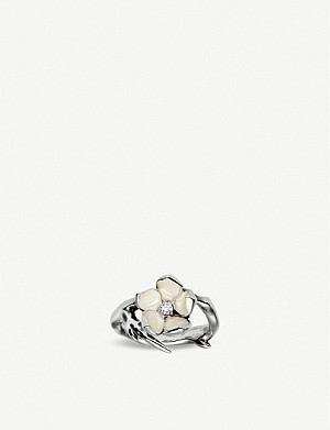 SHAUN LEANE Cherry Blossom sterling silver diamond ring