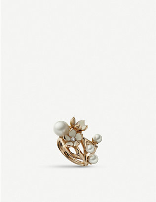 SHAUN LEANE: Cherry Blossom rose gold-plated vermeil sterling silver, pearl and diamond ring