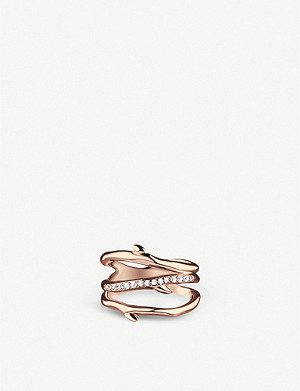 SHAUN LEANE Cherry Blossom three branch silver rose-gold vermeil and diamond ring