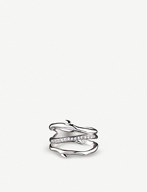 SHAUN LEANE Cherry Blossom three branch silver and diamond ring