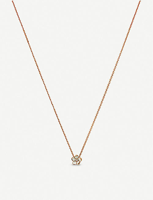 SHAUN LEANE Cherry Blossom silver rose-gold vermeil and diamond pendant necklace