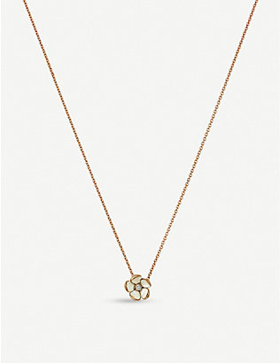 SHAUN LEANE: Cherry Blossom silver yellow-gold vermeil and diamond pendant necklace