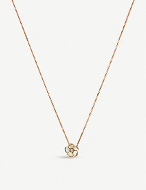 SHAUN LEANE Cherry Blossom silver yellow-gold vermeil and diamond pendant necklace