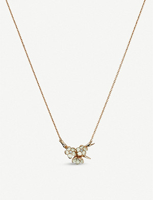 SHAUN LEANE Cherry Blossom gold vermeil and diamond necklace