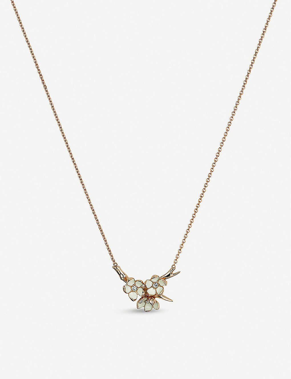 SHAUN LEANE: Cherry Blossom gold-plated vermeil silver and diamond necklace