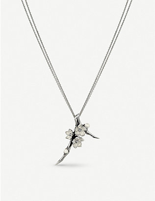 SHAUN LEANE: Cherry Blossom sterling silver diamond and pearl necklace