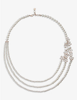 SHAUN LEANE: Cherry Blossom rose gold-plated vermeil silver, pearl and 0.50ct diamond necklace