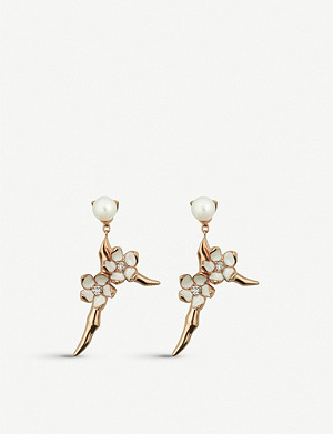 SHAUN LEANE Cherry Blossom silver yellow-gold vermeil and diamond drop earrings