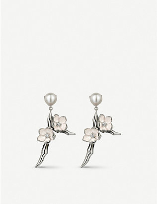 SHAUN LEANE: Cherry Blossom silver, diamond and freshwater pearl earrings
