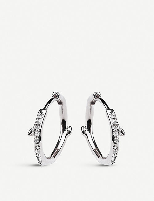 SHAUN LEANE: Cherry Blossom sterling silver and diamond hoop earrings