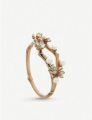 SHAUN LEANE: Cherry Blossom rose gold-plated vermeil silver bangle