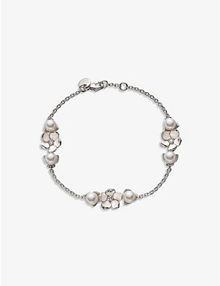 SHAUN LEANE: Cherry Blossom sterling silver, diamond and pearl bracelet
