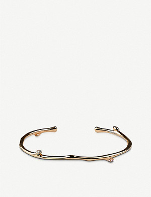 SHAUN LEANE Cherry Blossom yellow-gold vermeil and diamond bangle