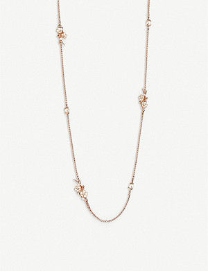 SHAUN LEANE Cherry Blossom rose-gold vermeil and diamond sautoir necklace