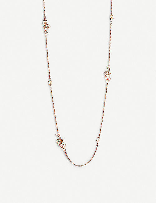 SHAUN LEANE: Cherry Blossom rose-gold vermeil and diamond sautoir necklace