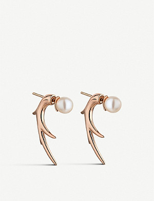 SHAUN LEANE Cherry Blossom Talon rose-gold vermeil earrings