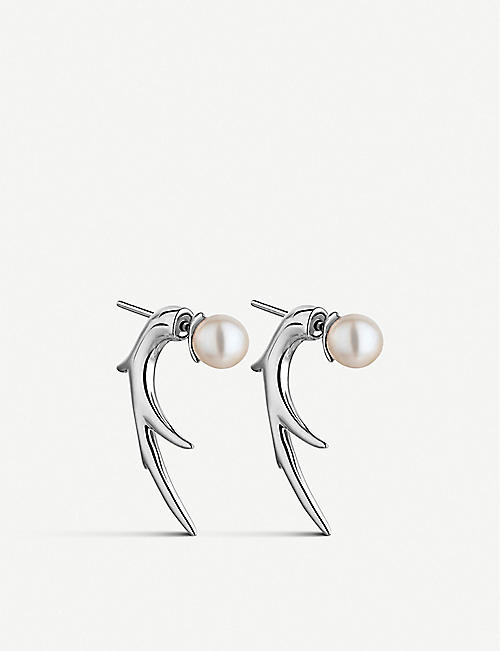 SHAUN LEANE: Cherry Blossom Talon sterling silver and pearl earrings