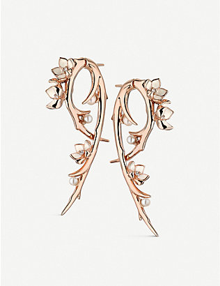SHAUN LEANE: Cherry Blossom Hook pearl, diamond and rose-gold vermeil earrings