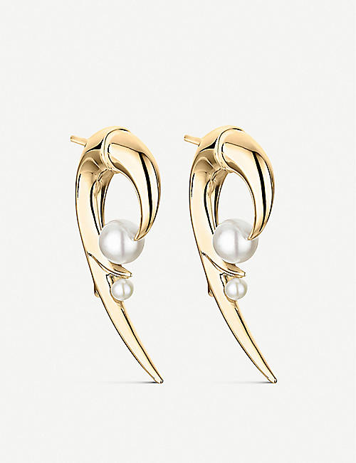 SHAUN LEANE Cherry Blossom Hook pearl and yellow-gold vermeil earrings