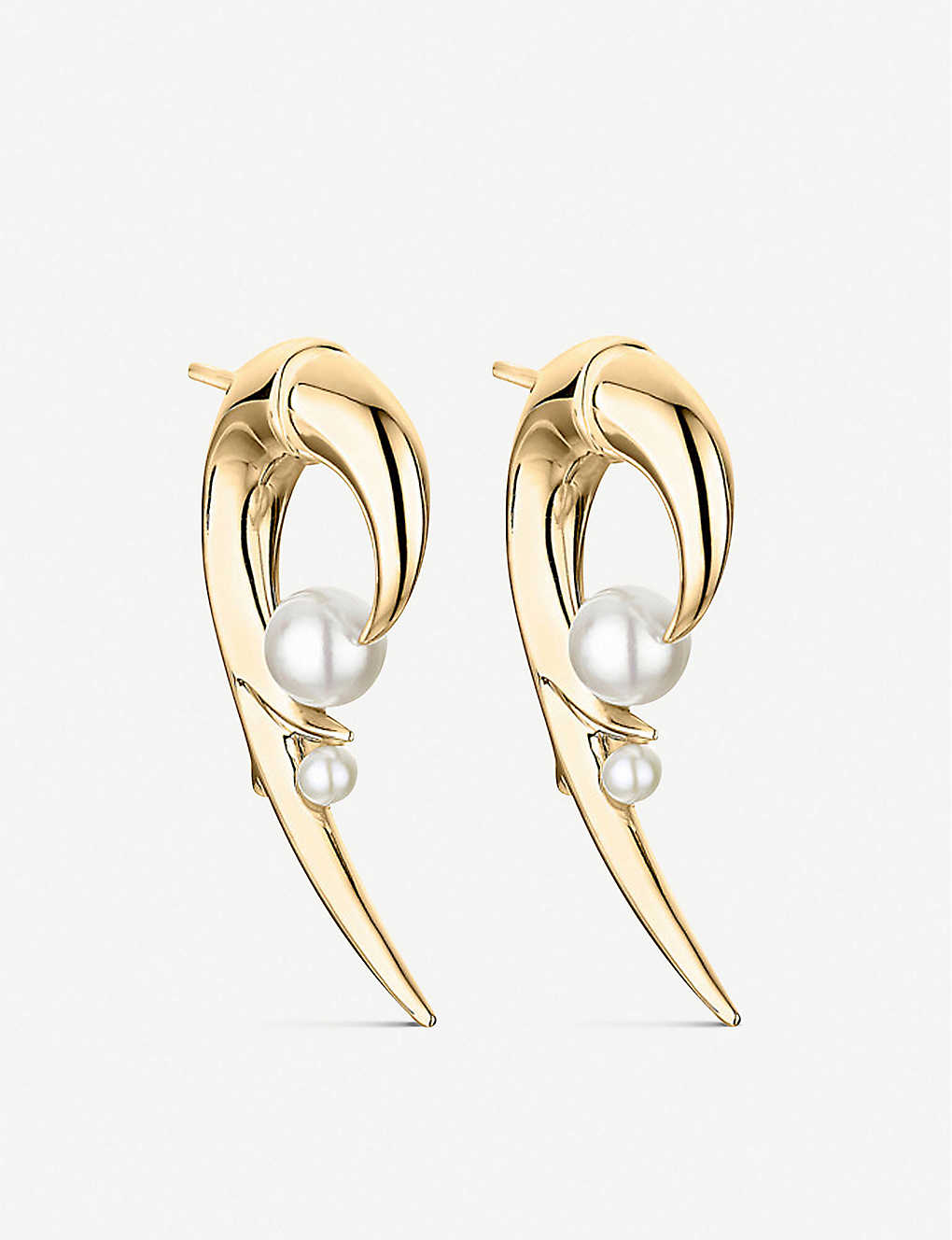 SHAUN LEANE: Cherry Blossom Hook pearl and yellow-gold vermeil earrings