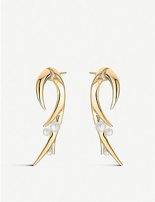 SHAUN LEANE: Cherry Blossom Hook pearl and yellow-gold vermeil earring