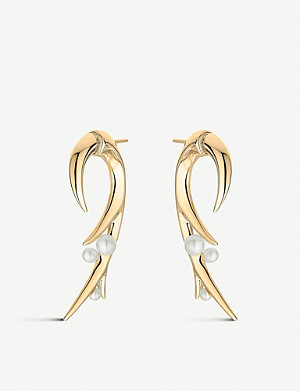 SHAUN LEANE Cherry Blossom Hook pearl and yellow-gold vermeil earring