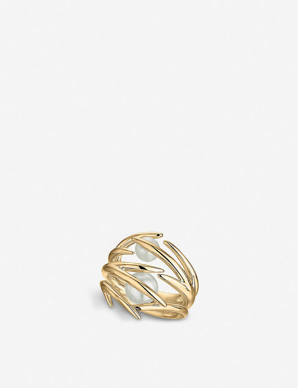 SHAUN LEANE: Cherry Blossom yellow gold-plated vermeil silver and pearl ring