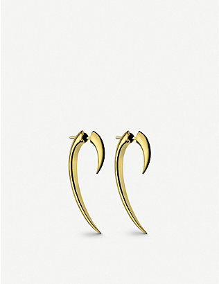 SHAUN LEANE: Hook gold-plated vermeil silver earrings