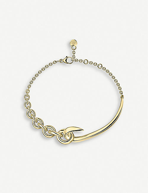 SHAUN LEANE: Hook chain yellow gold-plated vermeil silver bracelet