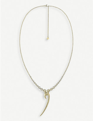 SHAUN LEANE: Drop hook yellow gold-plated vermeil sterling silver necklace
