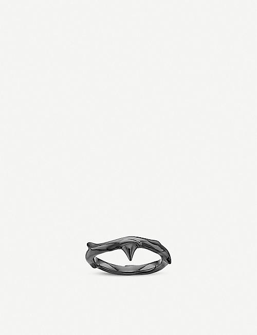SHAUN LEANE: Rose Thorn black rhodium-plated silver ring