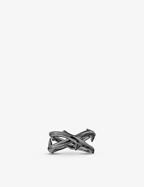 SHAUN LEANE: Rose Thorn black rhodium-plated ring