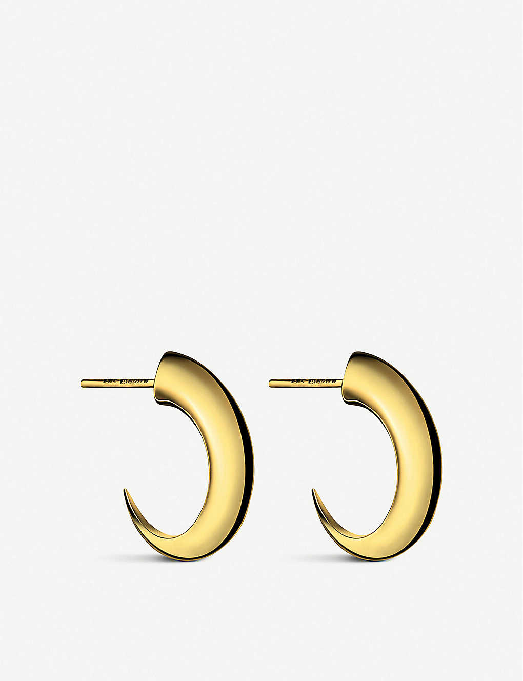 SHAUN LEANE: Cat Claw medium yellow gold-plated vermeil silver hoop earrings