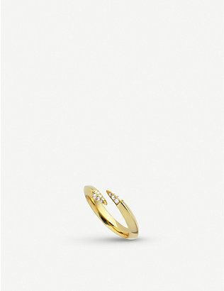 SHAUN LEANE: Wrap yellow gold-plated vermeil silver and diamond ring