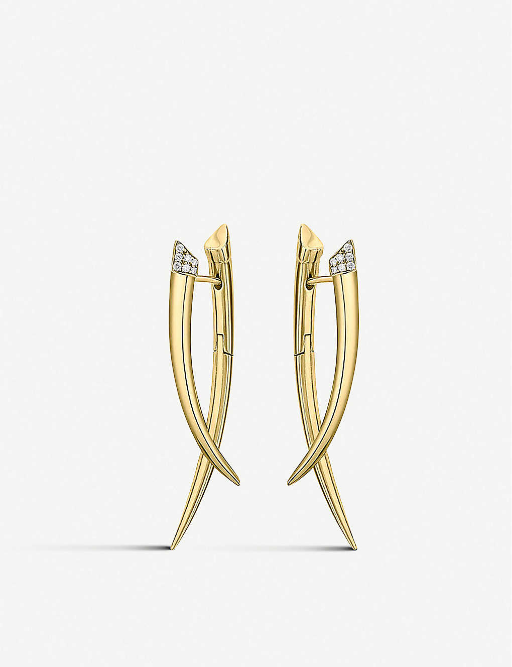 SHAUN LEANE: Crossover yellow gold-vermeil and 0.11ct white-diamond drop earrings