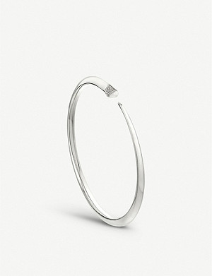 SHAUN LEANE Tusk Sabre sterling silver and diamond bangle