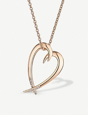SHAUN LEANE Heart rose gold-vermeil and diamond necklace