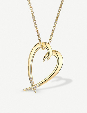 SHAUN LEANE Heart gold-vermeil and diamond necklace