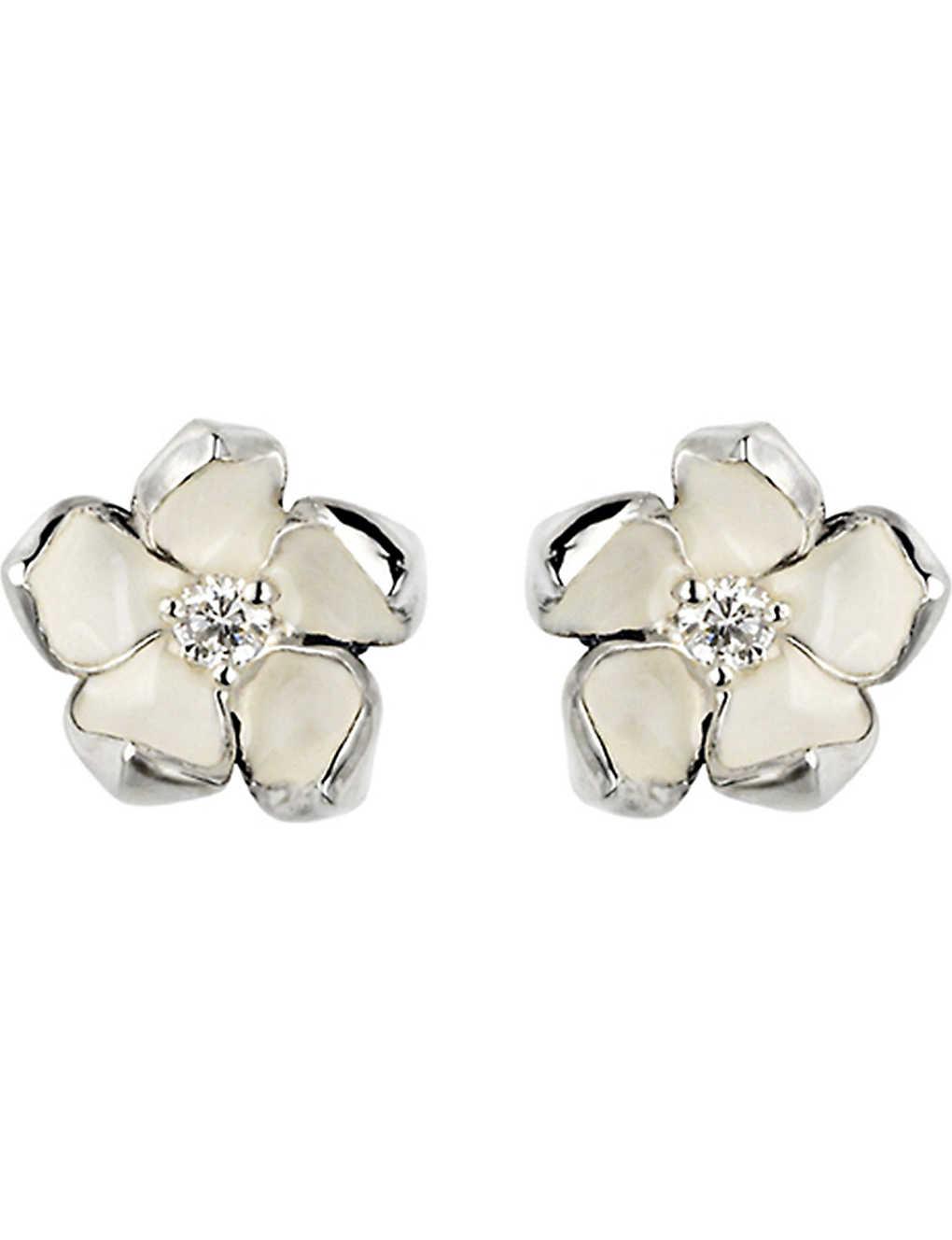 6d24edcc8 SHAUN LEANE - Cherry Blossom silver, ivory enamel and diamond stud ...