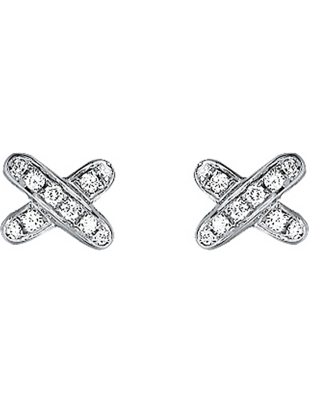 CHAUMET: Jeux de Liens 18ct white-gold and diamond earrings