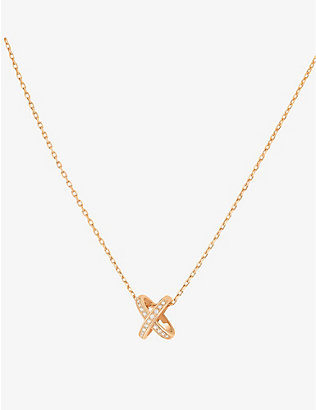 CHAUMET: Jeux de Liens 18ct pink-gold and diamond pendant necklace