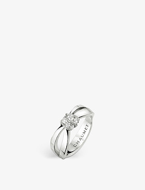CHAUMET Liens Séduction 18ct white-gold and pavé diamond ring