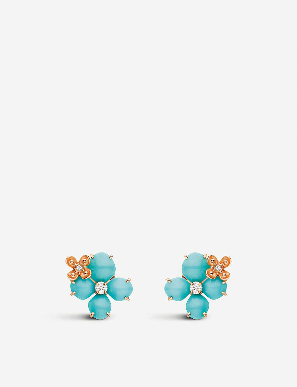 CHAUMET: Hortensia 'Eden' 18ct pink gold, diamond and turquoise flower earrings